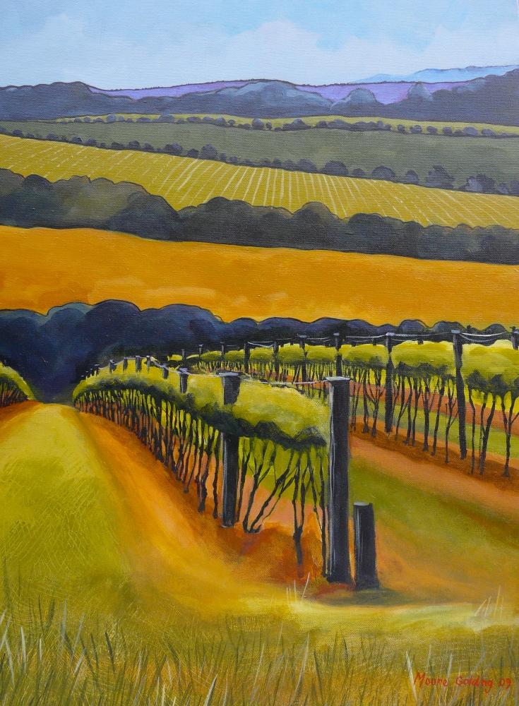 Vineyard, Mornington Peninsula. Acrylic on canvas 76x61x4cms 2009© FOR SALE. Enquiries to lizmooregolding@gmail.com