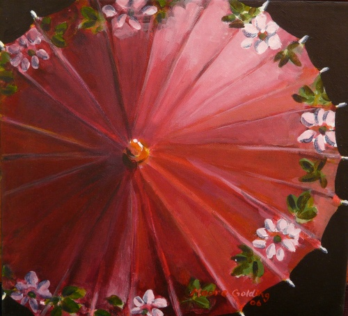 Red Parasol  Acrylic  31x31x4     SOLD