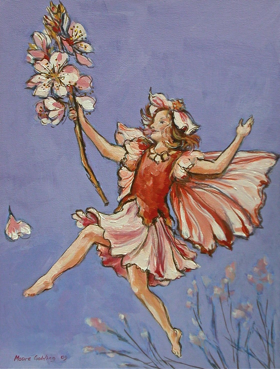 The Pink Fairy with Blossom (after C.M.Barker) Acrylic on