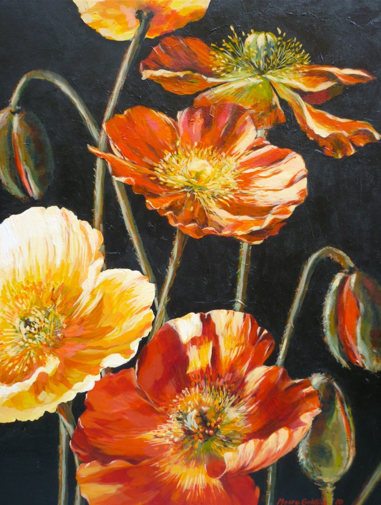 Iceland Poppies. Poppies Too (for Lea Durham). Acrylic on canvas 76x61x4cms 2010© SOLD