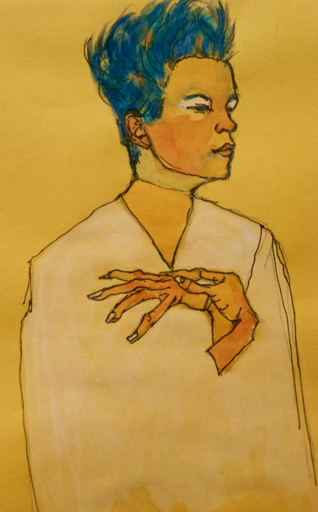 After Egon Schiele (Austria 1890-1918) 'Self portrait with hands on chest' 1910. This won a competition for tickets to see the wonderful 'Vienna' art exhibition, Melbourne 2011. Elizabeth Moore Golding 2011 ©