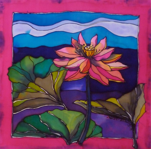 'Lotus Kakadu'. Elizabeth Moore Golding 2006Ⓒ Silk painting 46cmx46cm. Mounted ready to frame.
