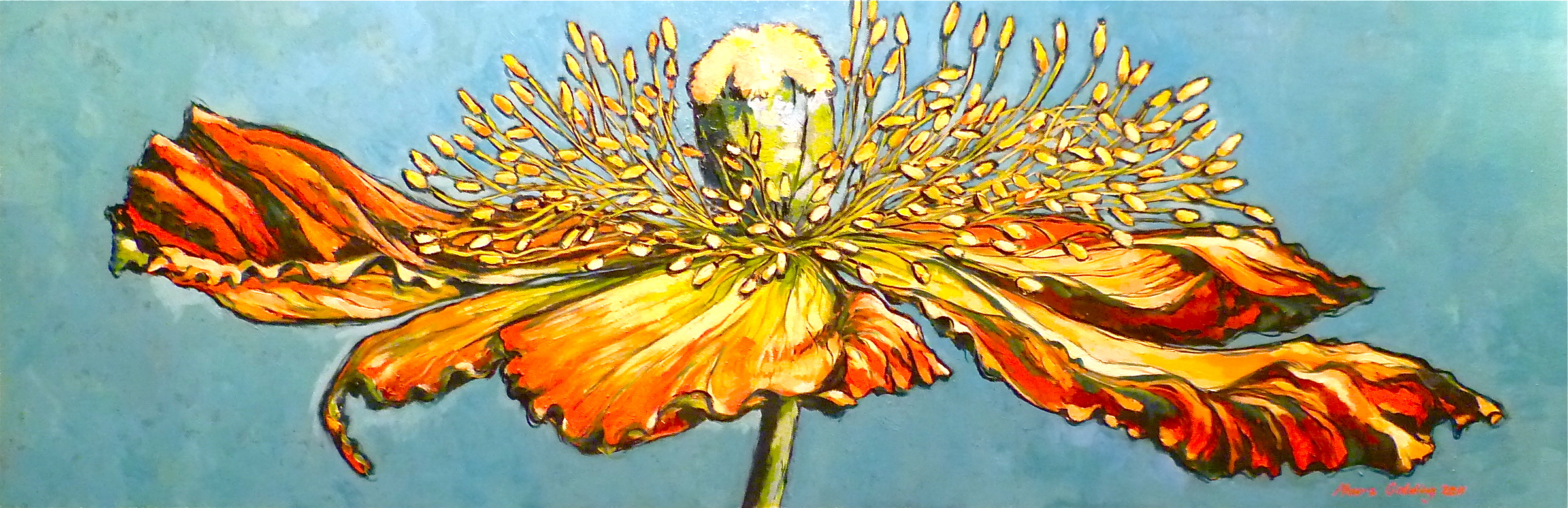Painting Blue And Yellow Blue Poppy Oil Painting on