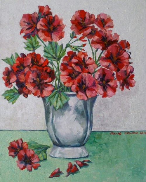 Red pelargoniums