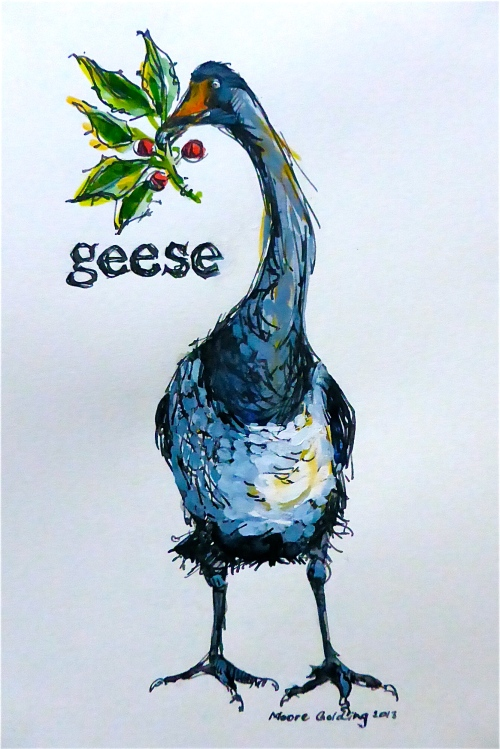 'Geese...' from the twelve days of Christmas. Click on the link to see all Christmas cards.