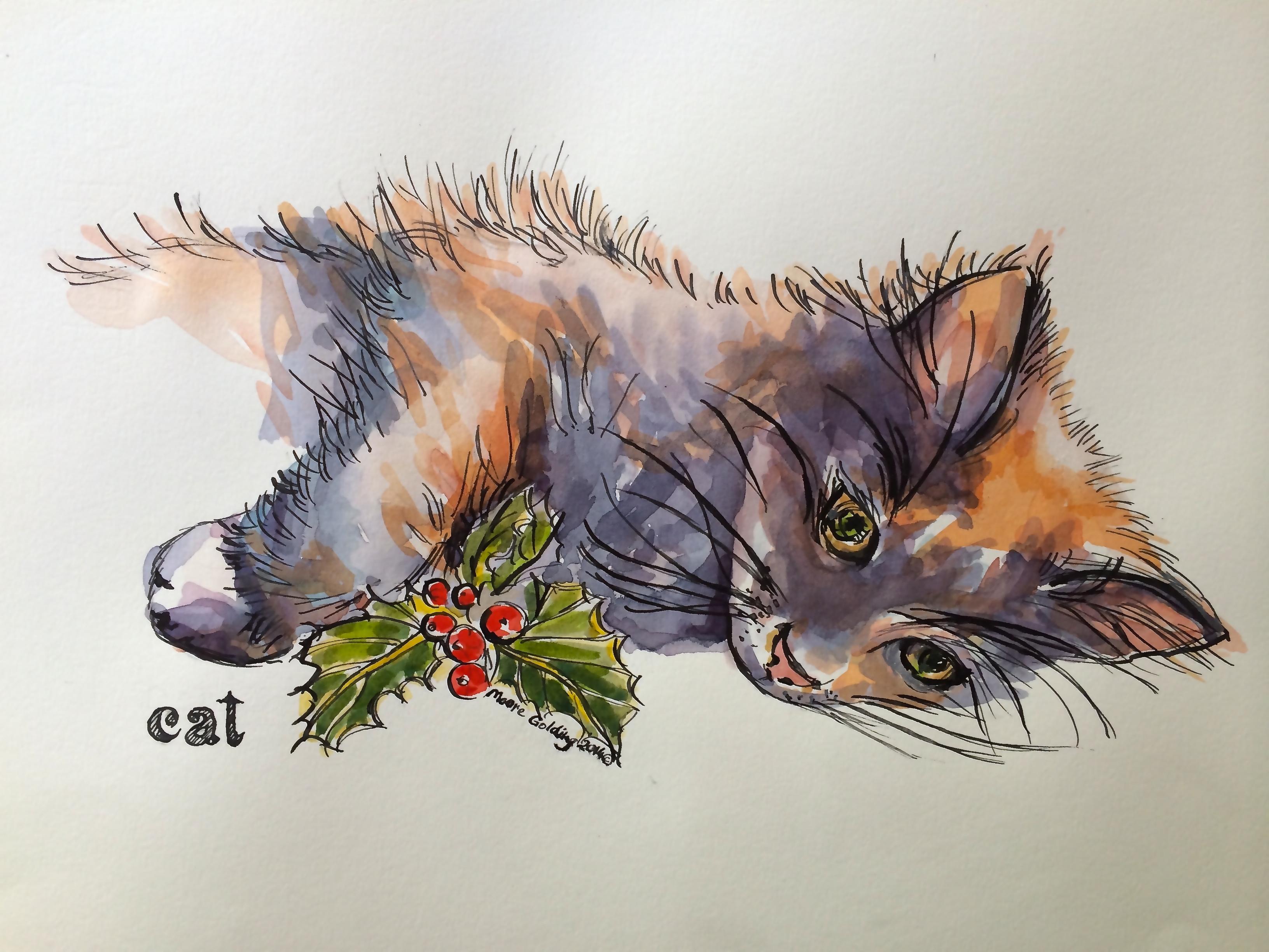 Christmas cat. Elizabeth Moore Golding 2014©