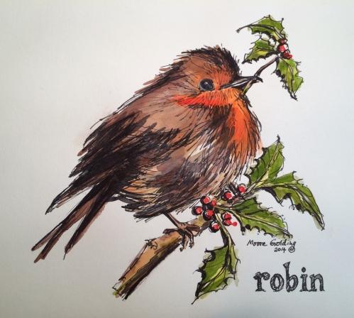 Christmas robin. Elizabeth Moore Golding 2014©