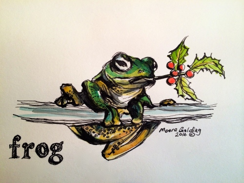 Pen and wash Xmas card.