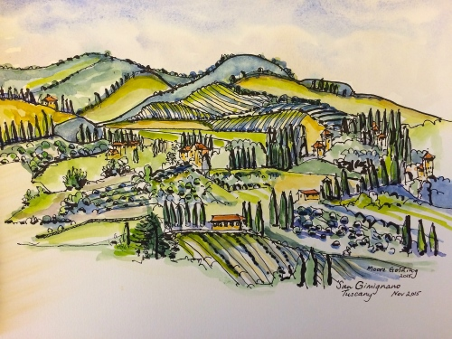 San Gimignano Tuscany. Pen and wash 2015©