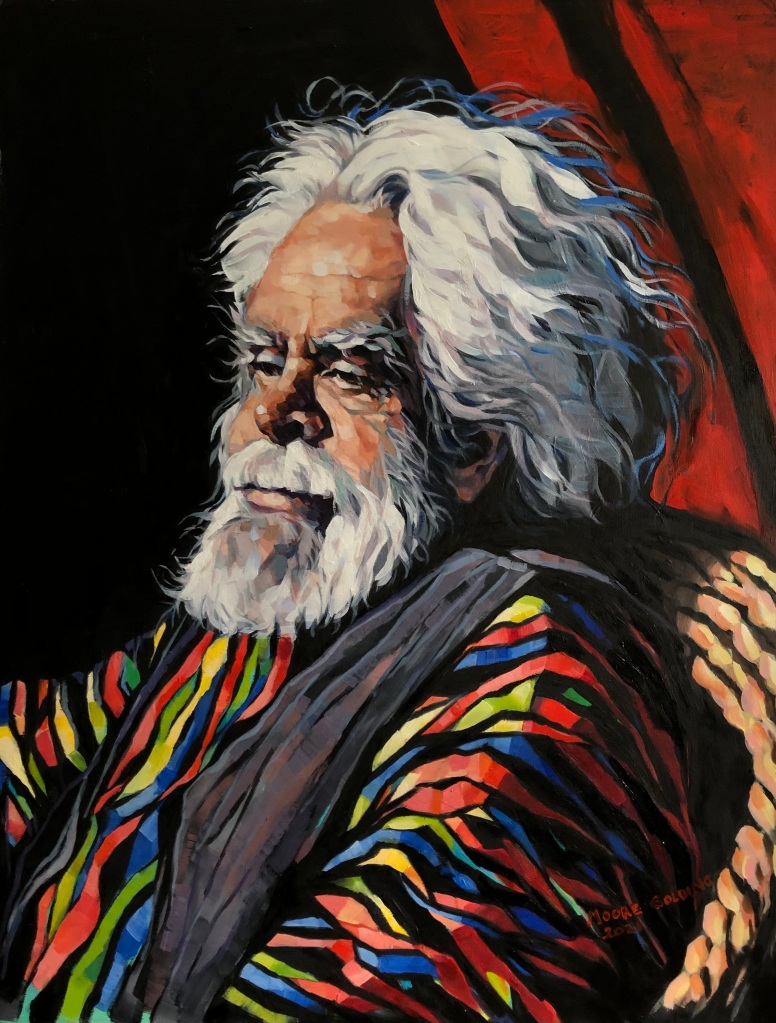 This portrait was painted for a few hours from life. at the Friday Group, Victorian Artists Society. It is of Uncle Jack Charles, respected indigenous elder, actor, activist, raconteur, a Stolen Generation child. Oil on board 50x40cm, framed. FOR SALE.